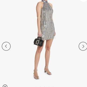 One33 Social Beaded Fringe Halter Silver Dress 2